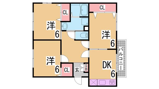 物件番号: 1111284403  神戸市北区有野町二郎 3DK ハイツ 間取り図