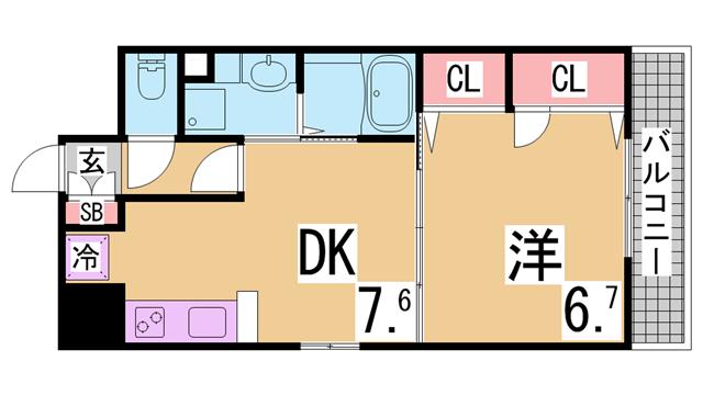 物件番号: 1111284439  神戸市長田区松野通1丁目 1DK マンション 間取り図
