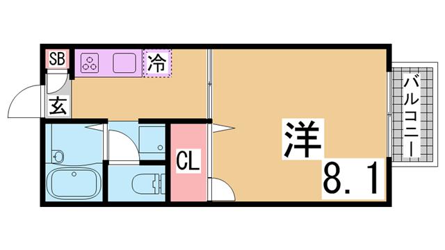 物件番号: 1111284472  神戸市須磨区月見山町2丁目 1DK ハイツ 間取り図