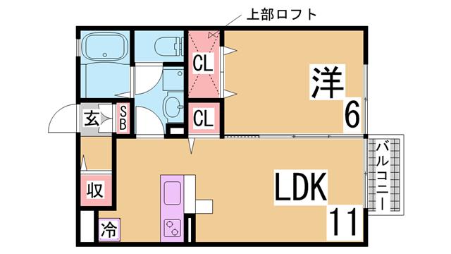 物件番号: 1111284622  神戸市北区八多町中 1LDK アパート 間取り図