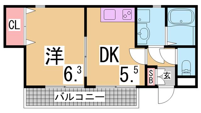 物件番号: 1111284625 グリーンハイツ  神戸市北区南五葉3丁目 3DK アパート 間取り図