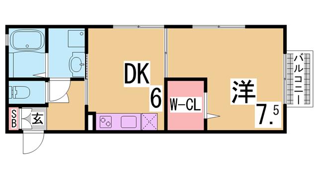 物件番号: 1111284628 ドルチェ鈴蘭  神戸市北区鈴蘭台西町1丁目 1DK ハイツ 間取り図