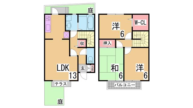 物件番号: 1111284635  神戸市北区有野中町1丁目 3LDK テラスハウス 間取り図