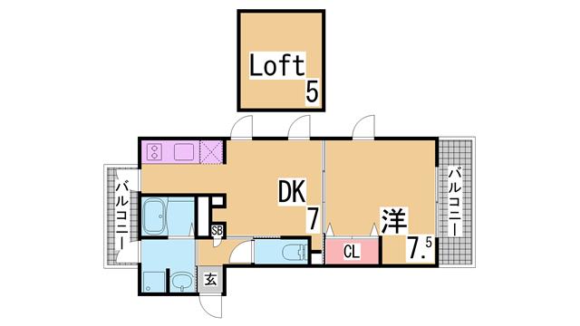 物件番号: 1111284819 コルベーユダフト  神戸市兵庫区西上橘通1丁目 1SDK マンション 間取り図