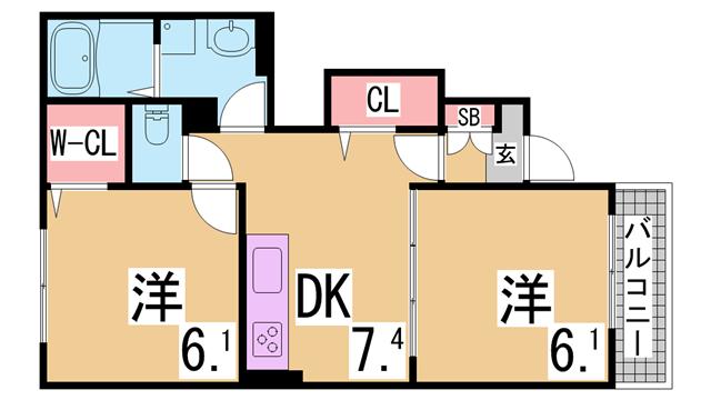 物件番号: 1111284825  神戸市長田区上池田3丁目 2LDK マンション 間取り図