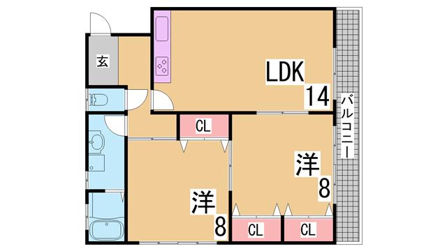 物件番号: 1111284826 惣町サンハイツ 2号棟  神戸市長田区上池田3丁目 2LDK マンション 間取り図