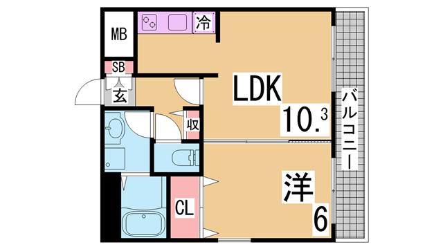 物件番号: 1111284827  神戸市長田区野田町5丁目 1LDK マンション 間取り図