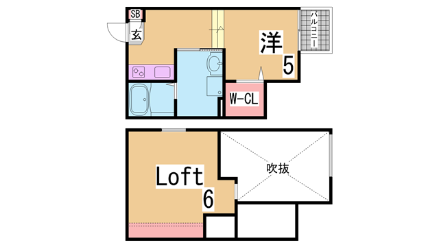 物件番号: 1111284834 エクル海運町  神戸市長田区海運町2丁目 1SK アパート 間取り図