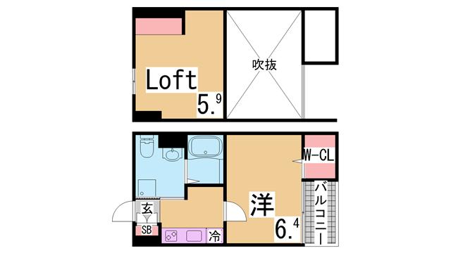 物件番号: 1111284835  神戸市長田区野田町9丁目 1SK ハイツ 間取り図