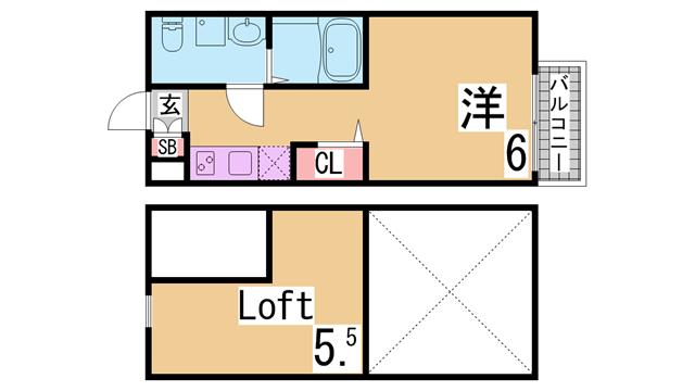 物件番号: 1111284842 ラ・ヴィータ川西  神戸市長田区川西通4丁目 1SK ハイツ 間取り図