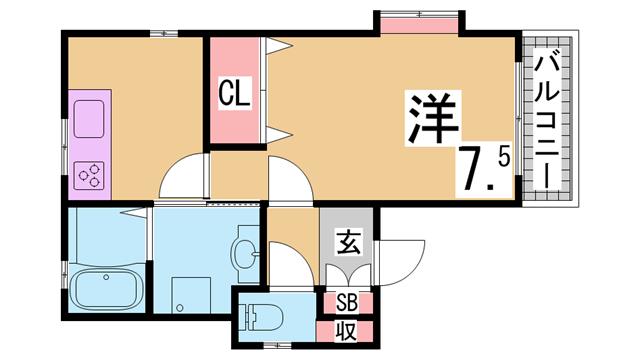 物件番号: 1111284992  神戸市中央区楠町1丁目 1DK マンション 間取り図