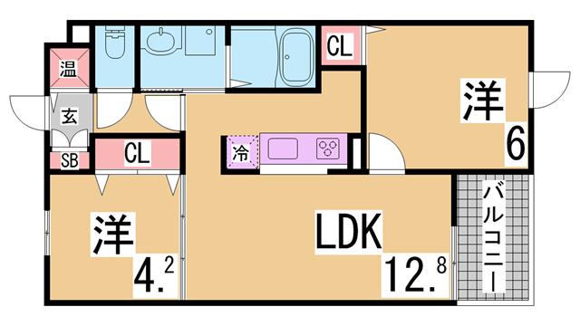 物件番号: 1111284998 アークプレイス神戸  神戸市兵庫区兵庫町1丁目 2LDK マンション 間取り図