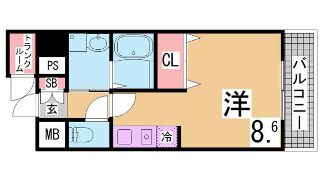 物件番号: 1111285009  神戸市兵庫区大開通3丁目 1K マンション 間取り図