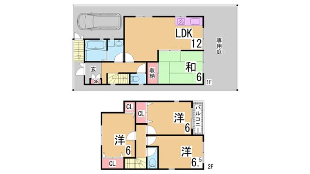 物件番号: 1111285223  神戸市北区唐櫃台2丁目 4LDK 貸家 間取り図