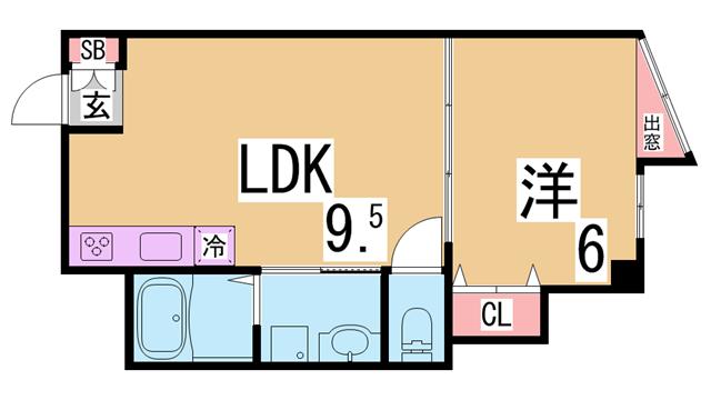 物件番号: 1111285235 プリオーレリベルタ  神戸市長田区片山町5丁目 1LDK マンション 間取り図