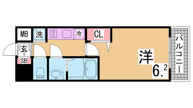 物件番号: 1111285288 ララプレイス神戸西元町  神戸市中央区元町通7丁目 1K マンション 間取り図