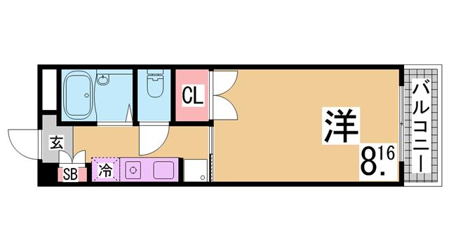 物件番号: 1111285318  神戸市須磨区妙法寺字池町 1K マンション 間取り図