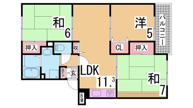 物件番号: 1111285320  神戸市兵庫区平野町字天王谷東服山 3LDK アパート 間取り図