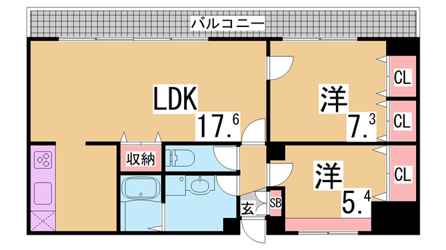物件番号: 1111285588  神戸市西区前開南町2丁目 2LDK マンション 間取り図