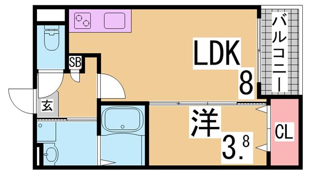 物件番号: 1111285638 ヴィラクレール神戸  神戸市長田区西代通4丁目 1LDK ハイツ 間取り図