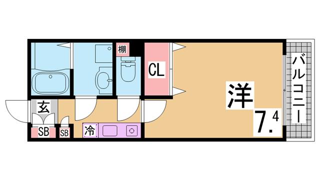 物件番号: 1111285783  神戸市長田区若松町3丁目 1K マンション 間取り図