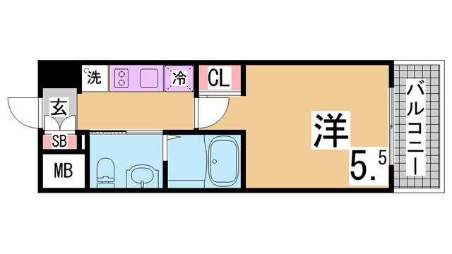 物件番号: 1111285816  神戸市兵庫区駅南通3丁目 1K マンション 間取り図