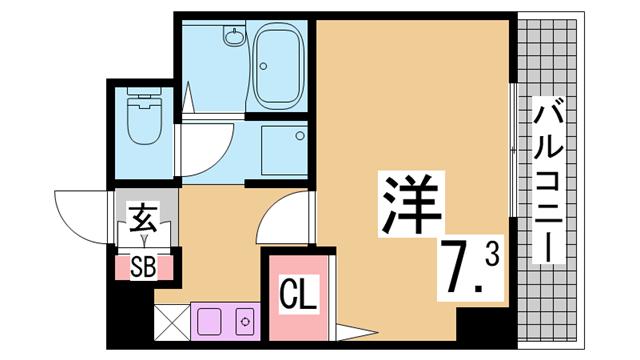 物件番号: 1111285818  神戸市兵庫区駅南通3丁目 1K マンション 間取り図