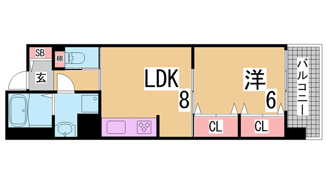 物件番号: 1111285827  神戸市須磨区大池町5丁目 1LDK マンション 間取り図