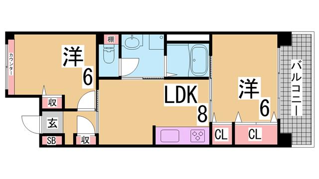 物件番号: 1111285830  神戸市須磨区大池町5丁目 2LDK マンション 間取り図