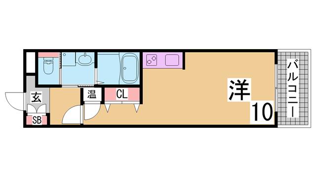 物件番号: 1111285839  神戸市長田区神楽町5丁目 1R マンション 間取り図
