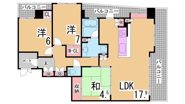 物件番号: 1111285849  神戸市兵庫区北逆瀬川町 3LDK マンション 間取り図