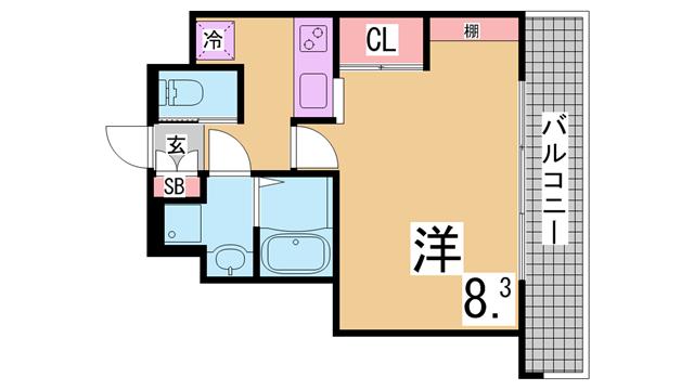 物件番号: 1111285858  神戸市兵庫区水木通6丁目 1K マンション 間取り図