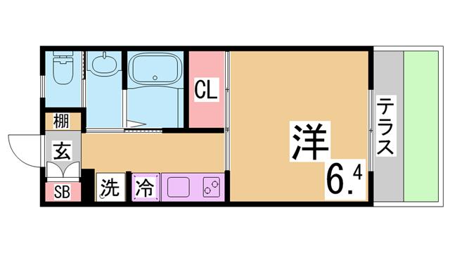 物件番号: 1111285862 エクセレントグロースⅥ  神戸市北区南五葉2丁目 1K ハイツ 間取り図