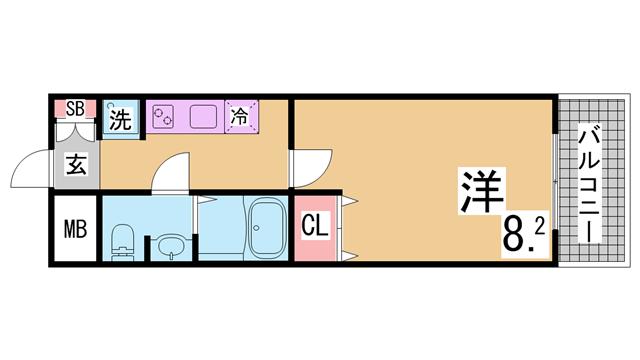 物件番号: 1111285864  神戸市長田区北町1丁目 1K マンション 間取り図