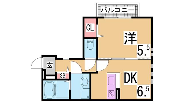 物件番号: 1111286022  神戸市北区谷上西町 1DK ハイツ 間取り図