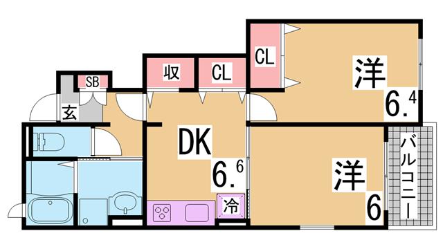 物件番号: 1111286283 カーサ・コリーナⅠ  神戸市北区上津台2丁目 2DK ハイツ 間取り図