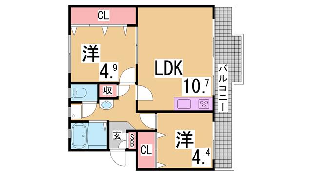 物件番号: 1111286641  神戸市北区泉台7丁目 2LDK マンション 間取り図