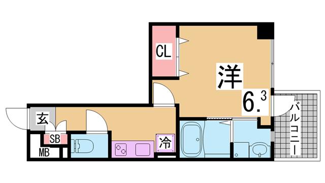 物件番号: 1111286654  神戸市兵庫区永沢町4丁目 1K マンション 間取り図