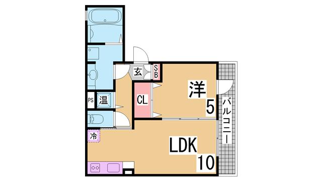 物件番号: 1111286676 フラット松原  神戸市兵庫区松原通1丁目 1LDK ハイツ 間取り図