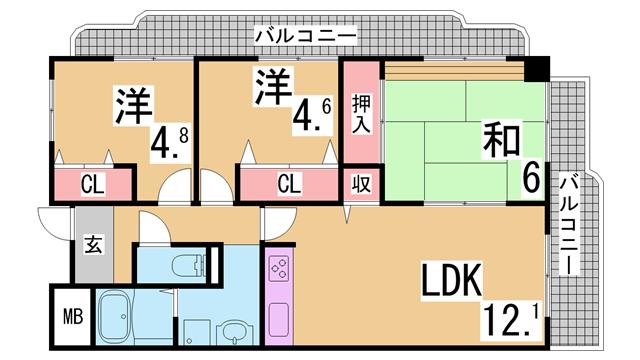 物件番号: 1111287022 ベガ中上  神戸市北区谷上西町 3LDK マンション 間取り図