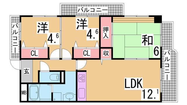 物件番号: 1111287023 ベガ中上  神戸市北区谷上西町 3LDK マンション 間取り図