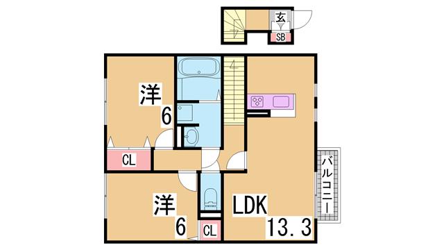 物件番号: 1111287028 シャルム・ヴィラ  神戸市北区道場町日下部 2LDK ハイツ 間取り図