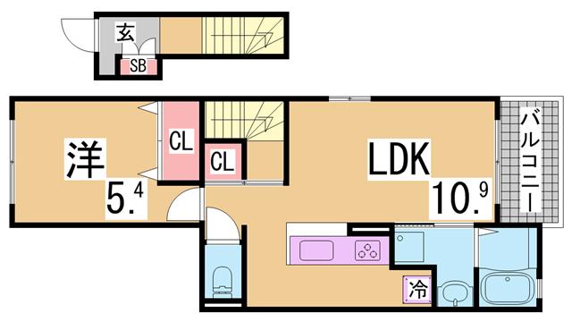 物件番号: 1111287032  神戸市兵庫区御崎本町1丁目 1LDK アパート 間取り図