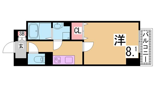 物件番号: 1111287043  神戸市兵庫区御崎本町1丁目 1LDK マンション 間取り図