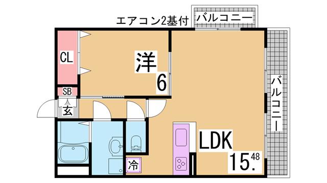 物件番号: 1111287049  神戸市兵庫区大開通3丁目 1K マンション 間取り図