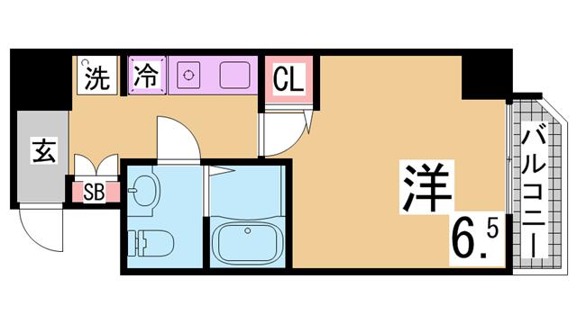 物件番号: 1111287051  神戸市兵庫区大開通3丁目 1K マンション 間取り図