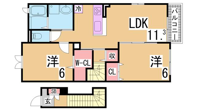 物件番号: 1111287062 グランディオーズ八多  神戸市北区八多町下小名田 2LDK アパート 間取り図