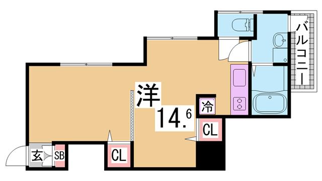物件番号: 1111287560  神戸市北区鈴蘭台北町5丁目 1R アパート 間取り図