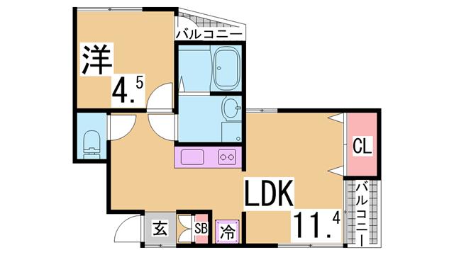 物件番号: 1111287590  神戸市北区鈴蘭台北町5丁目 1LDK アパート 間取り図