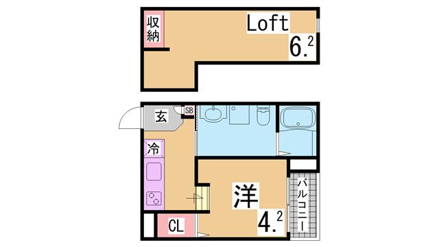 物件番号: 1111287857  神戸市垂水区山手3丁目 1SK ハイツ 間取り図